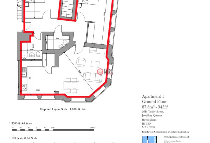 英国英格兰伯明翰的房产,Apartment 1, 26 Tenby Street,编号57728585